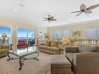 Beach Castle West Living Room toward Gulf with dining in back
