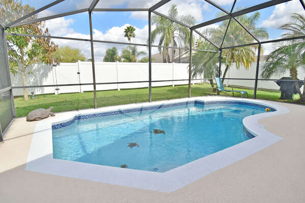 Extremely private pool with lawn surround