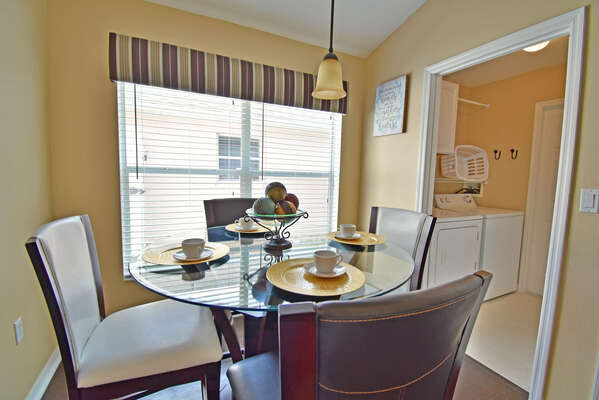 Breakfast table and utility room
