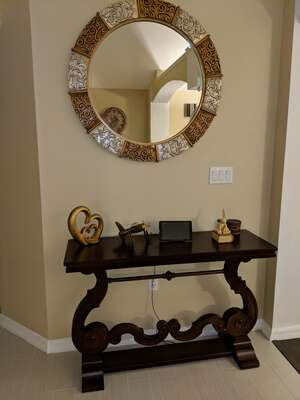 Console table and wall mirror
