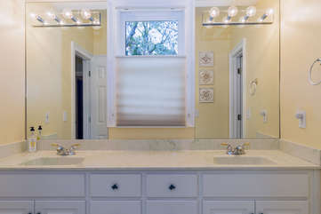 Jack and Jill bath with double vanity. Lots of natural light!
