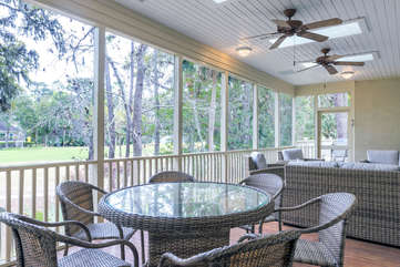 Dining for six on the screened porch.