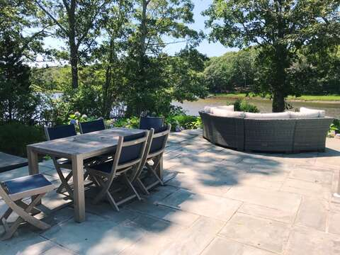 Outdoor dining on the patio-161 Bay Lane Centerville Cape Cod - New England Vacation Rentals