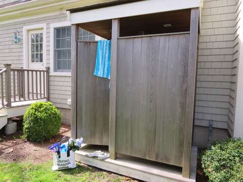 Enclosed outdoor shower with hot and cold water-161 Bay Lane Centerville Cape Cod - New England Vacation Rentals