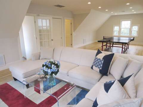Comfy seating area in the game room-161 Bay Lane Centerville Cape Cod - New England Vacation Rentals