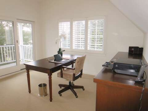 Access to balcony on 2nd floor through the office-makes working a breeze-161 Bay Lane Centerville Cape Cod - New England Vacation Rentals