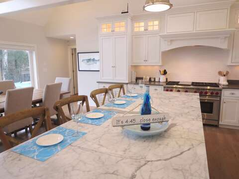 Kitchen Island-breakfast bar seats 4 comfortably-161 Bay Lane Centerville Cape Cod - New England Vacation Rentals