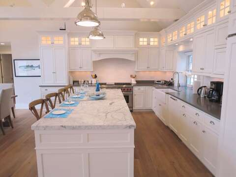 Kitchen with Sub-Zero refrigerator - Bosch Dishwasher and 6 burner gas Wolf oven -161 Bay Lane Centerville Cape Cod - New England Vacation Rentals