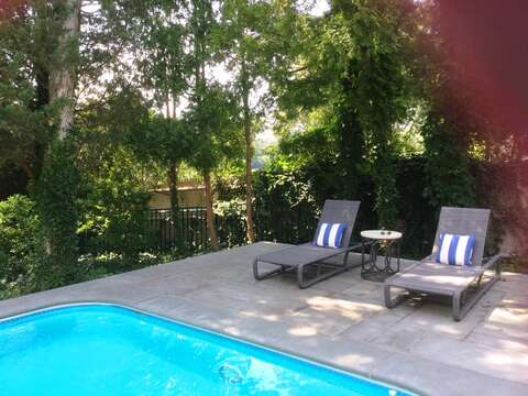 Plenty of places to lounge by the pool -161 Bay Lane Centerville Cape Cod - New England Vacation Rentals