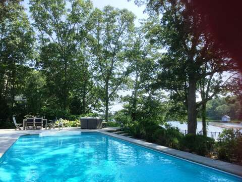Heated pool and hot tub over looking the water-161 Bay Lane Centerville Cape Cod - New England Vacation Rentals
