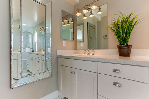 Master bathroom with large shower and vanity sink.