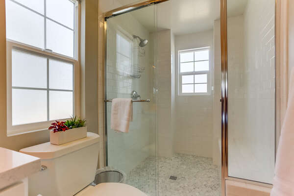 Master bathroom with large shower.