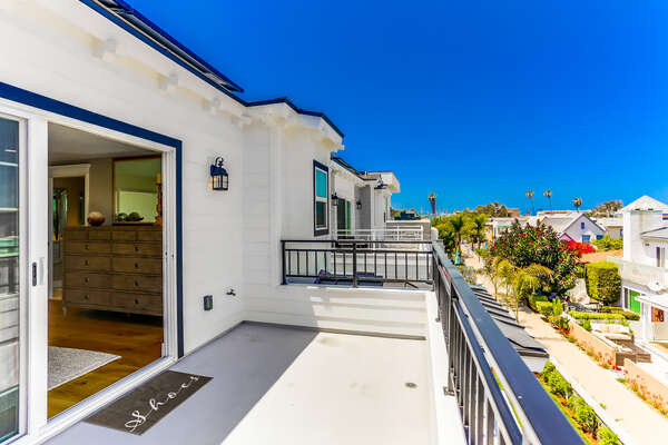 3rd floor Master balcony of this Vacation Home Rental in San Diego.