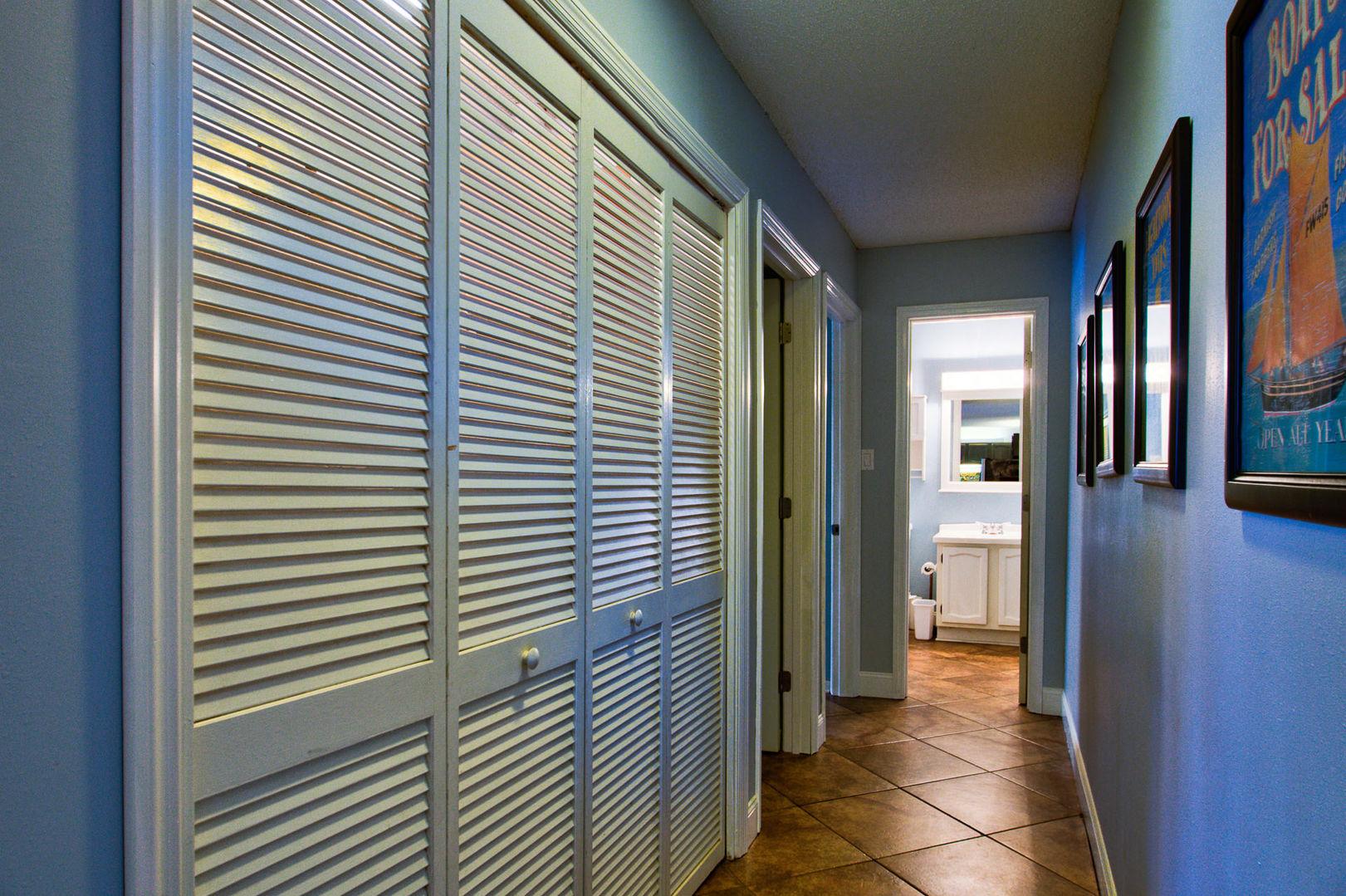 Hallway and Bathroom View in our Gulf Shores, AL Vacation Condo