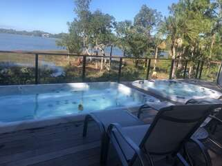 Start and end your day in the delightful spa pool and hot tub