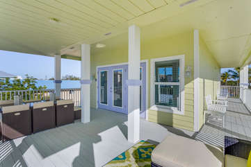 Deck outside of upstairs Master Bedroom.  Enjoy relaxing or gathering.