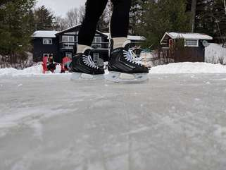 Skating on Otter Lake at Beachscapes cottage