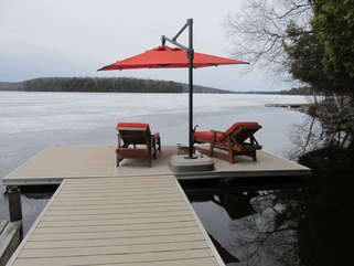 Dock with sunbeds, Three Mile Lake