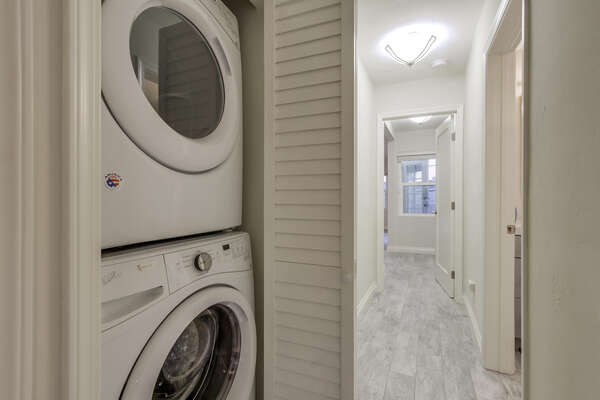 Laundry Closet with Washer and Dryer Unit.