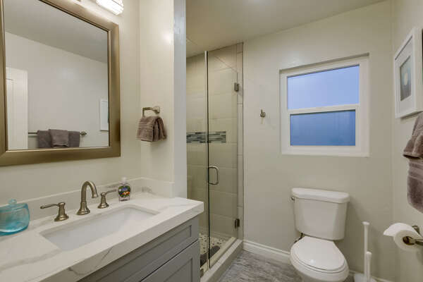 Single Vanity Sink, Mirror, Toilet, and Shower with Glass Doors.