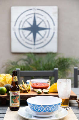 Outdoor Dining with fruits and more.