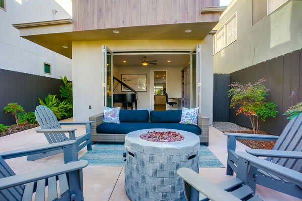 Spacious Front Patio with seating, Fire pit and views of the surrounding area.