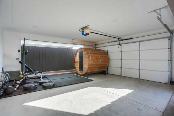 Garage with Work Out Equipment and Sauna