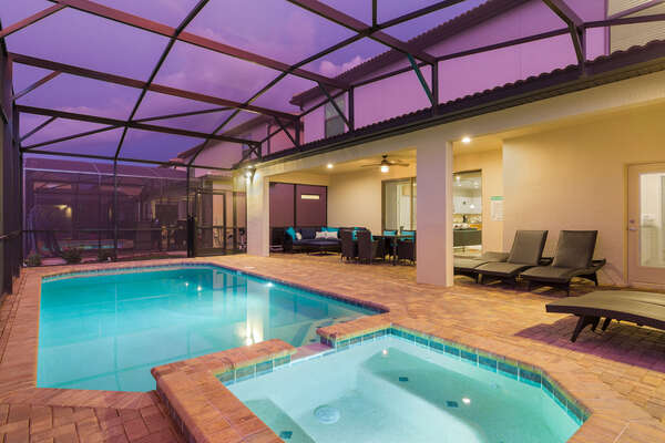 The pool area gets cozy when its lit at the darker hours