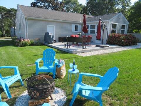 Back Yard with fire pit -22 Muscovy Lane West Yarmouth Cape Cod - New England Vacation Rentals