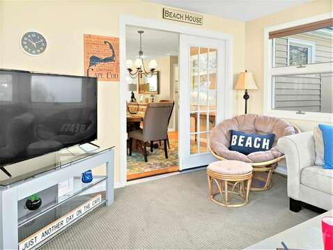 View from sun room to the dining and living areas - 22 Muscovy Lane West Yarmouth Cape Cod - New England Vacation Rentals