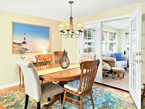 Dining area open to the Sun room - 22 Muscovy Lane West Yarmouth Cape Cod - New England Vacation Rentals