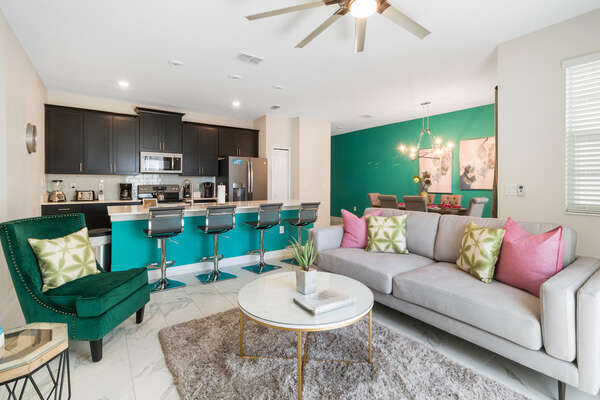 The living area features comfortable seating for all to enjoy