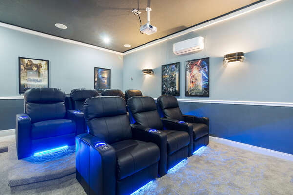 There are 7 recliner seats for you and your family to enjoy your favorite movie