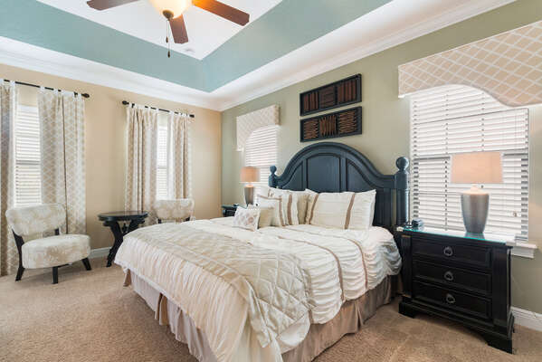 Master Suite 1 is located on the second floor with a king size bed