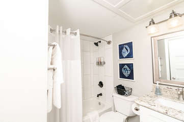 We supply all soaps, hairdryer and a super clean remodeled bathroom!