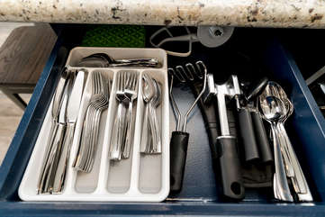 Nice heavy silverware and kitchen gadgets!