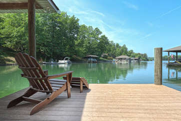 Outdoor Chair in the Dock of our     Smith Mountain Lake Luxury Vacation Rental.