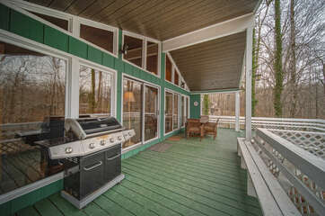 Grill and Dining Set in the Covered Deck.