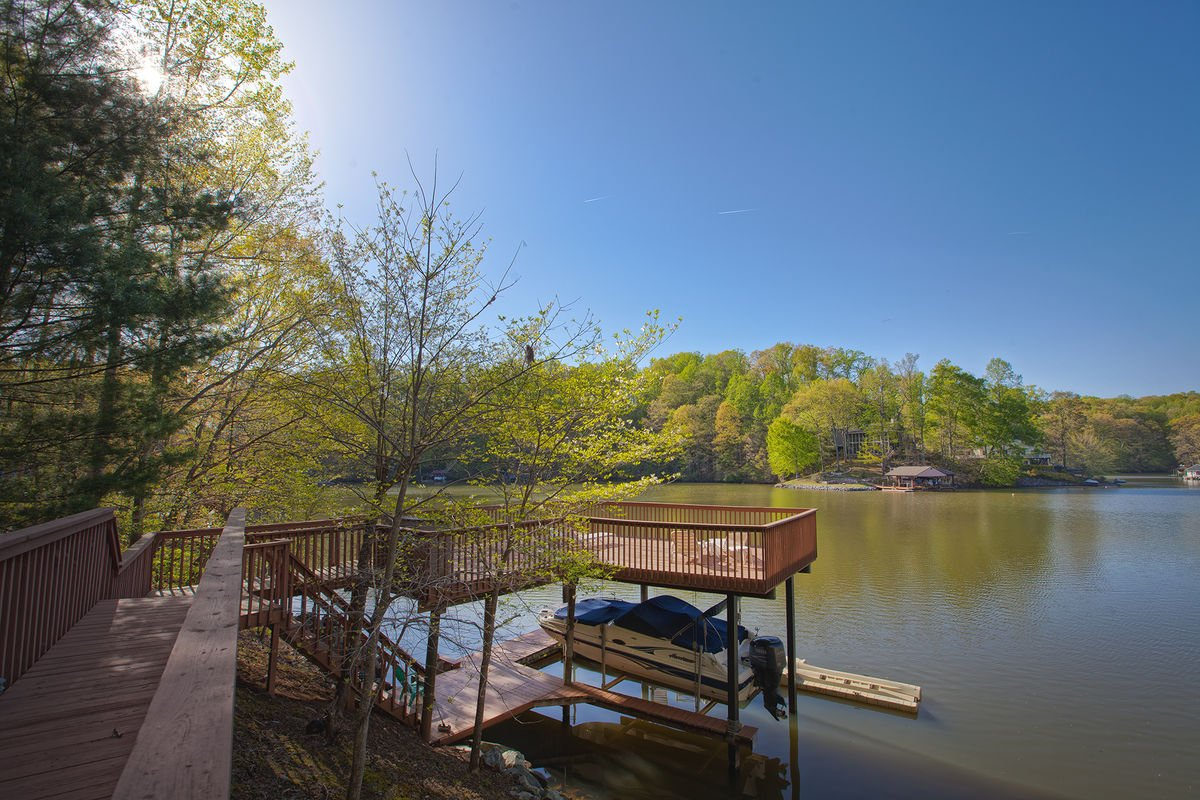 Views of the lake from the deck of this home.