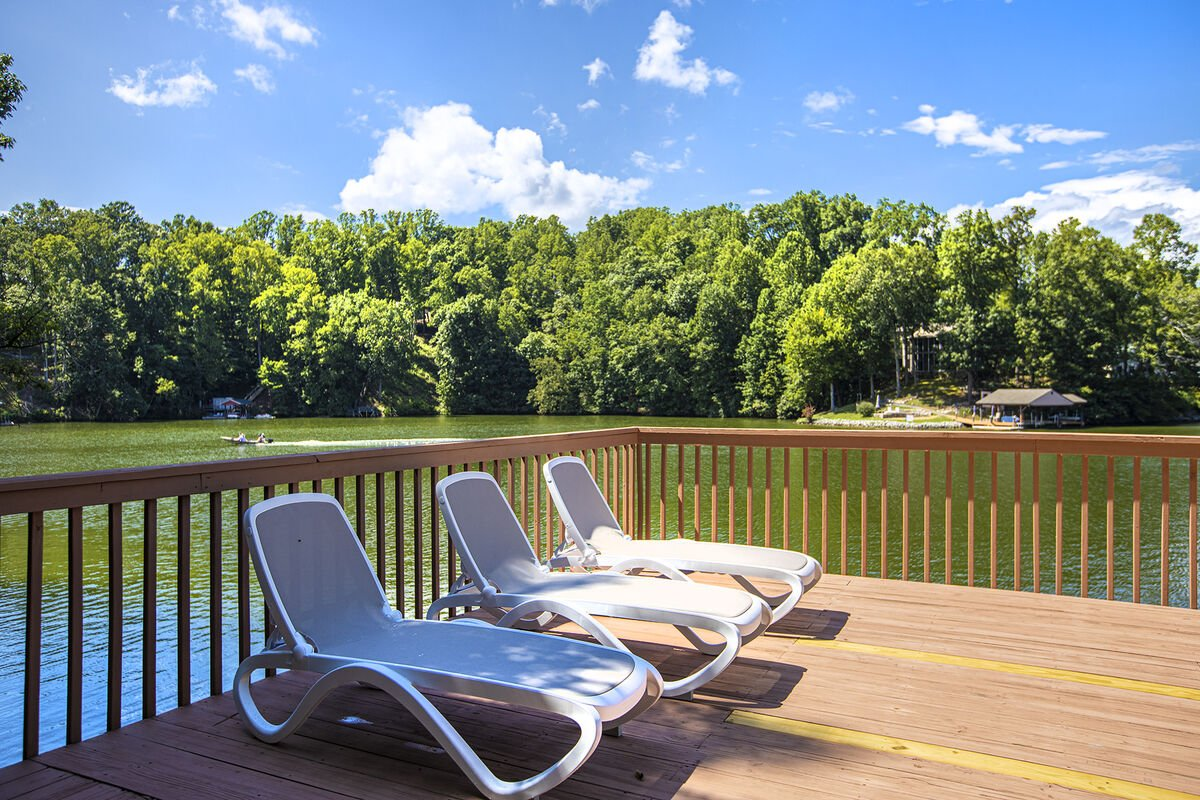 Lounge Chairs. Wide Water Cove and Views to Smith Mountain Lake