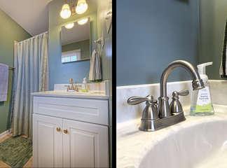 Master Bath En suite with vanity sink and shower.