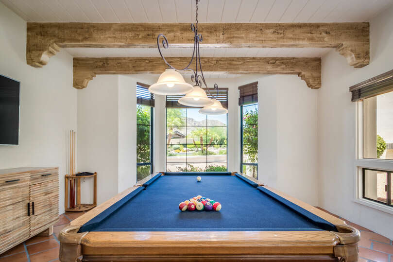Pool table and beautiful mountain views.