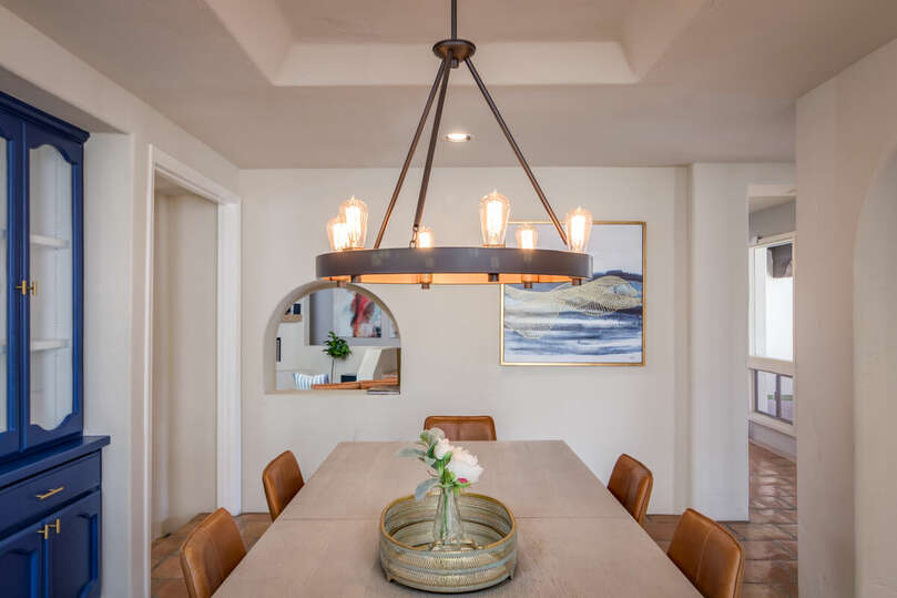 Beautiful lighting in dining room.
