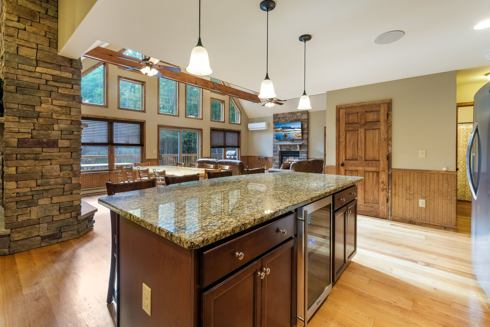 A picture of the granite counter-top kitchen island, facing the dining room and great room.