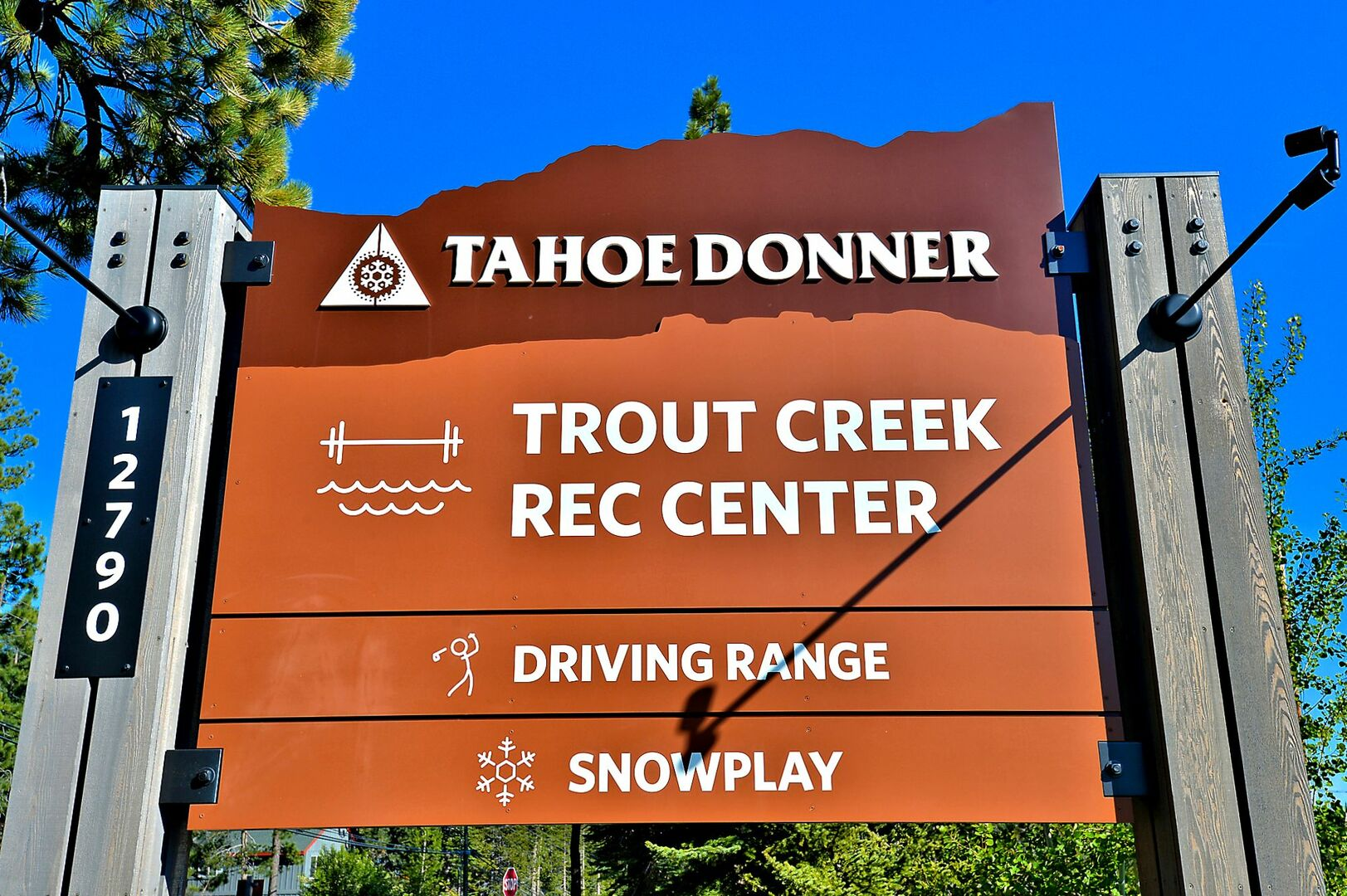 Sign for Trout Creek Recreation Center Near our Falcon Point Vacation Cabin