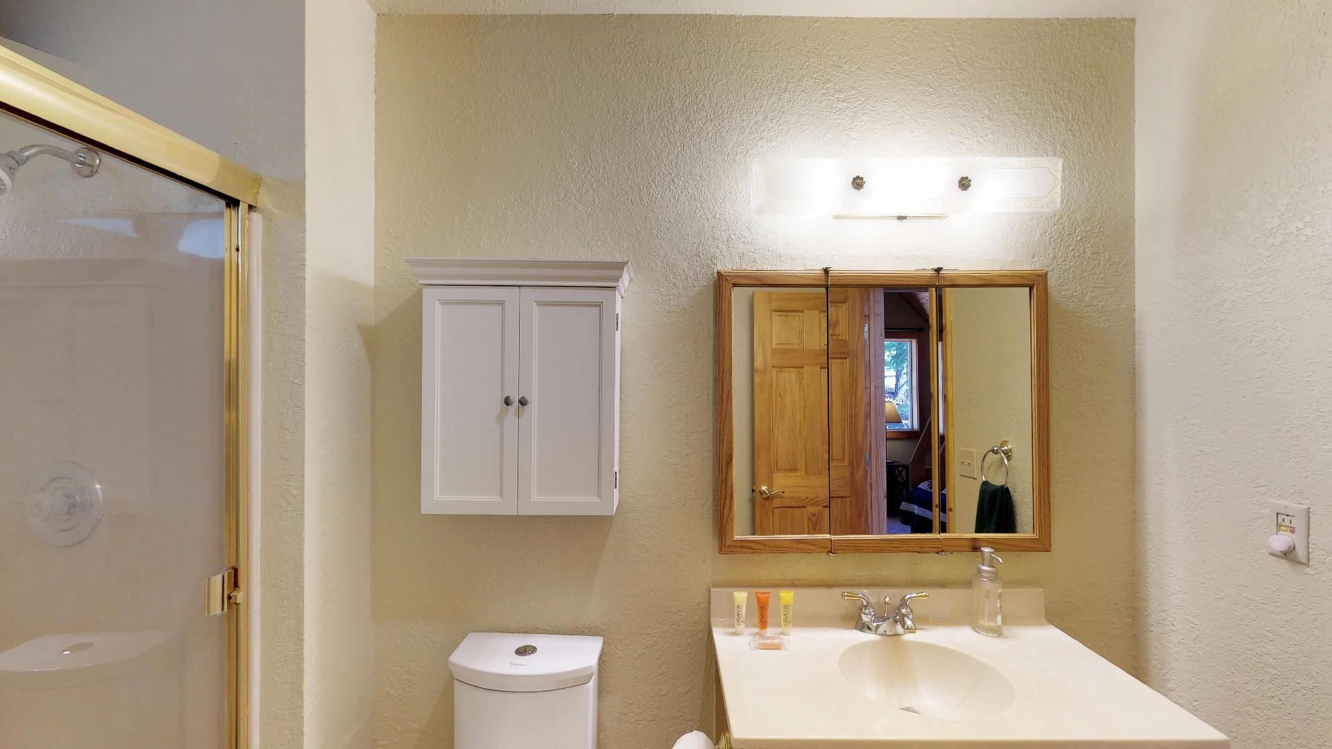 Vanity and Extra Cabinet Space in the Bathroom