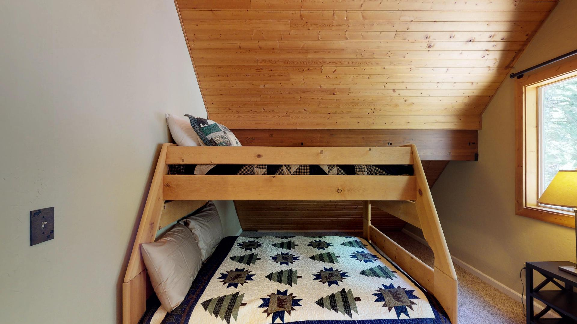 Twin Over Full Bunk Bed in our Truckee Cabin Rental