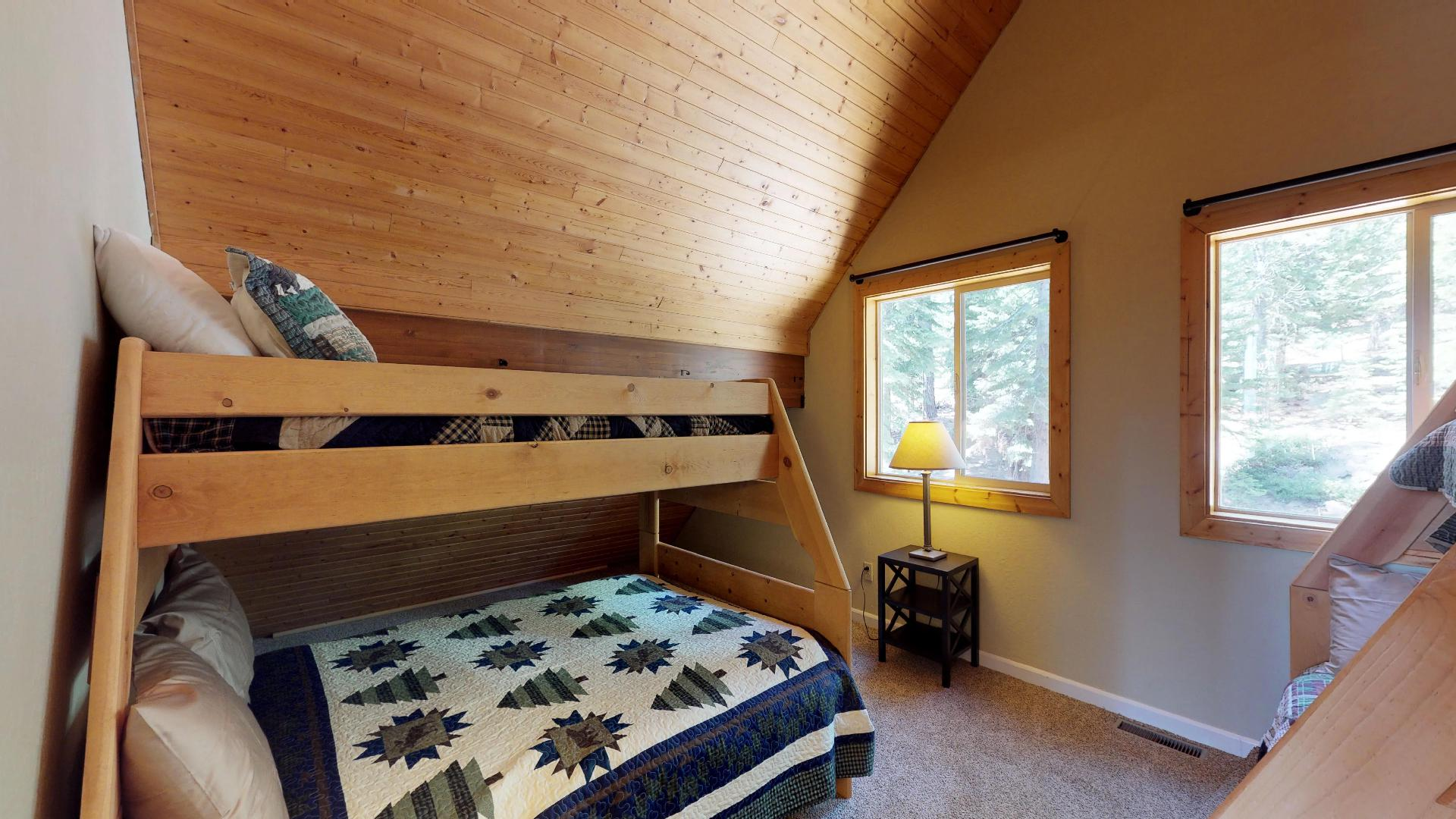 Large Windows in the Loft Bedroom of our Truckee Cabin Rental