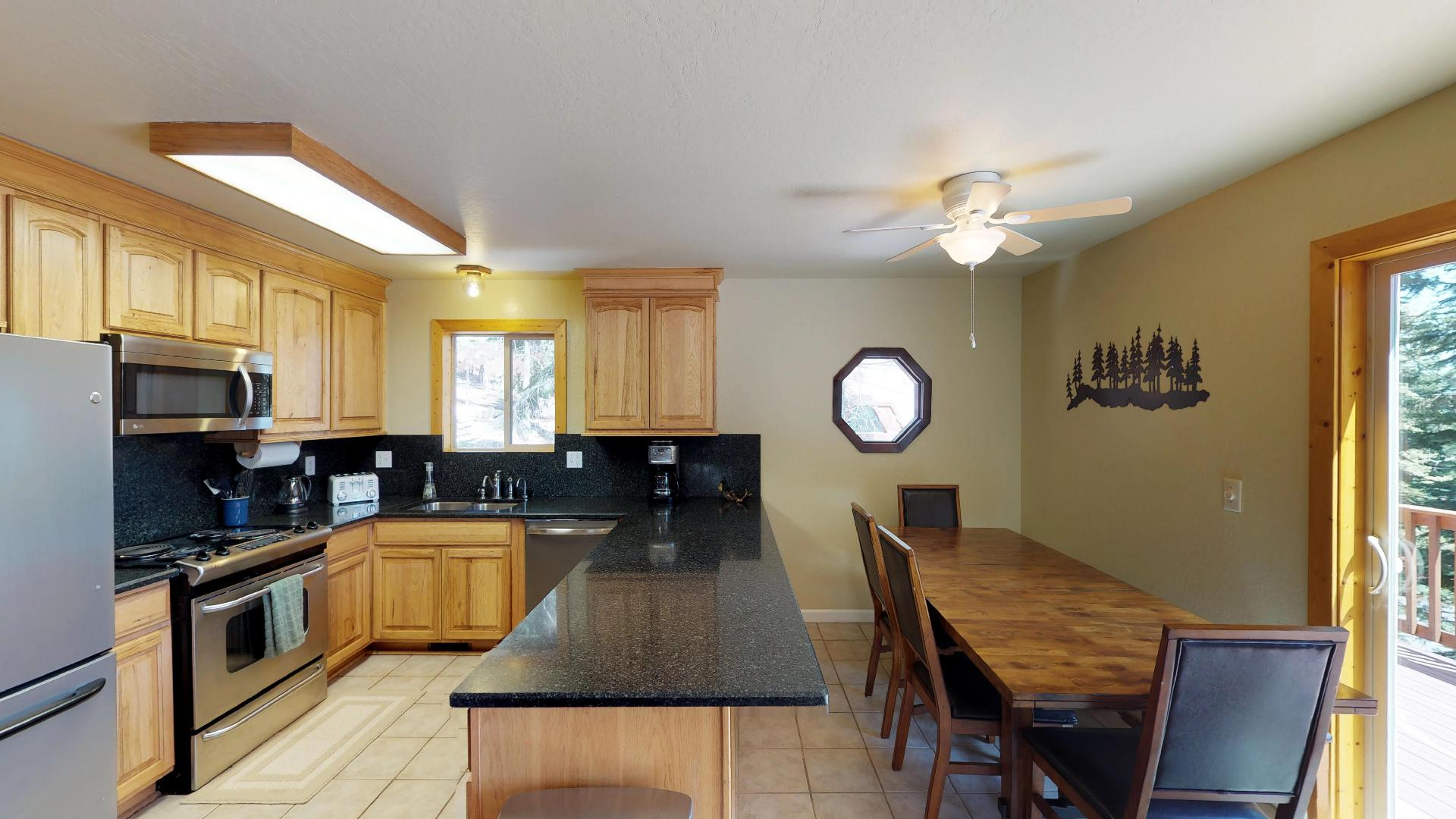 Comfortable Kitchen and Dining Space in our Truckee Cabin Rental