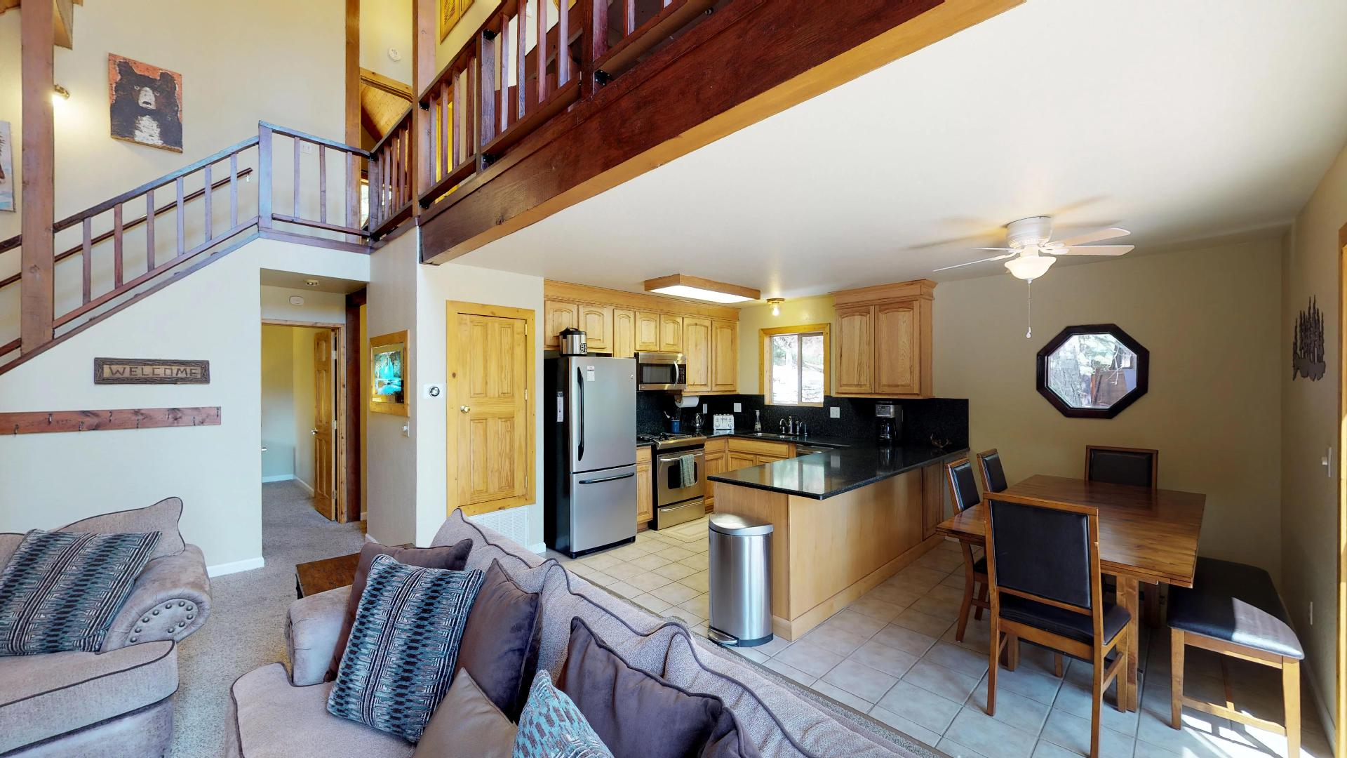 Kitchen and Dining Area in our Truckee Cabin Rental